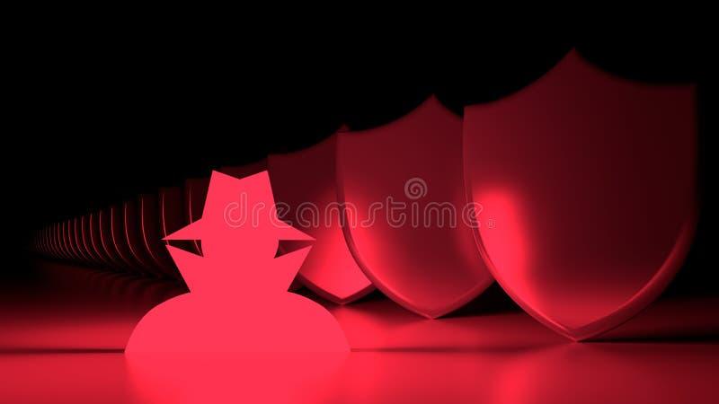 Symbole rouge rougeoyant de pirate informatique à côté d'une rangée des boucliers en métal illustration stock