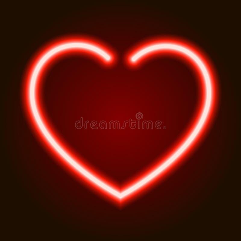 Download Symbole Rougeoyant Au Néon Rouge De Coeur De L'amour Sur Le Fond Foncé De L'illustration Illustration Stock - Illustration du vacances, néon: 87708821