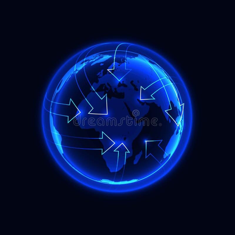 Symbole rougeoyant bleu de la terre avec des flèches montrant le réseau global, le transport international, ou la communication illustration libre de droits