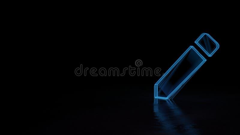 symbole rougeoyant du wireframe 3d de symbole de créer le nouveau bouton de crayon d'isolement sur le fond noir illustration stock