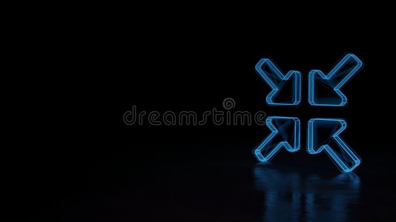 symbole rougeoyant du wireframe 3d de symbole des flèches alt de compresse d'isolement sur le fond noir illustration de vecteur