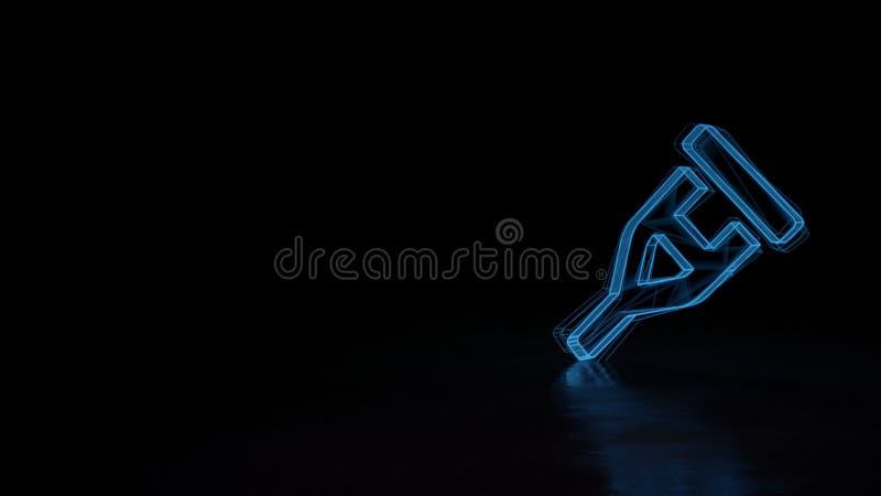 symbole rougeoyant du wireframe 3d du symbole de la béquille d'isolement sur le fond noir illustration de vecteur