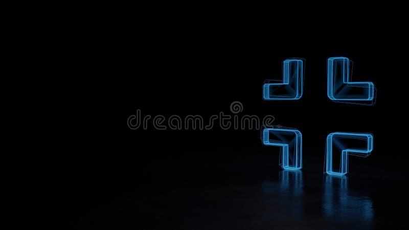symbole rougeoyant du wireframe 3d du symbole de la compresse d'isolement sur le fond noir illustration stock