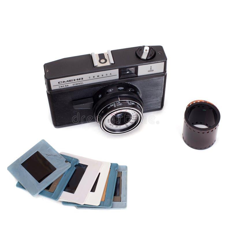 Symbole russe de Smena d'appareil-photo avec le film tourné et les glissières diapositive photo libre de droits