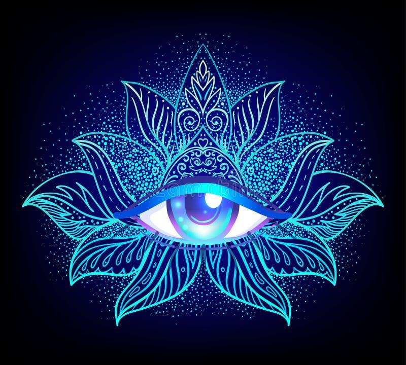 Symbole sacré de la géométrie avec tout l'oeil voyant plus de dans des couleurs acides illustration stock