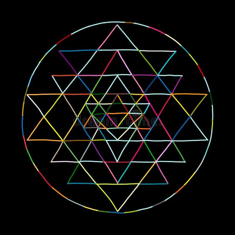 Symbole sacré Sri Yantra de la géométrie et d'alchimie Croquis tiré par la main pour votre conception illustration stock