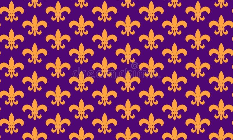 Symbole sans couture de pattern fleur de lis Modèle sans couture de mardi gras Fond de carnaval Gros mardi illustration libre de droits