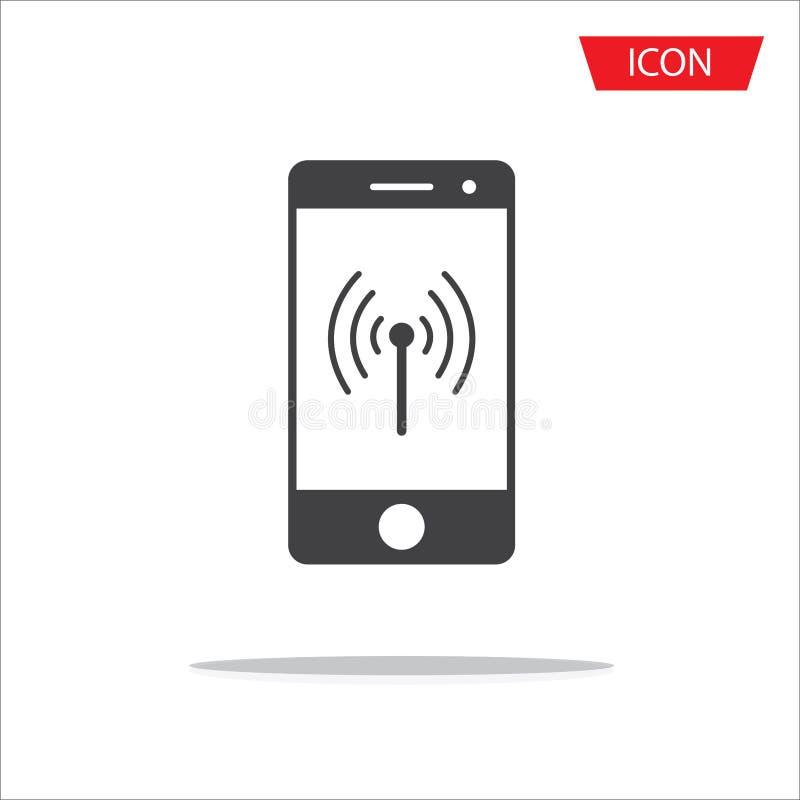 Symbole sans fil d'icône de téléphone portable sans fil de vecteur d'isolement sur le wh photo stock