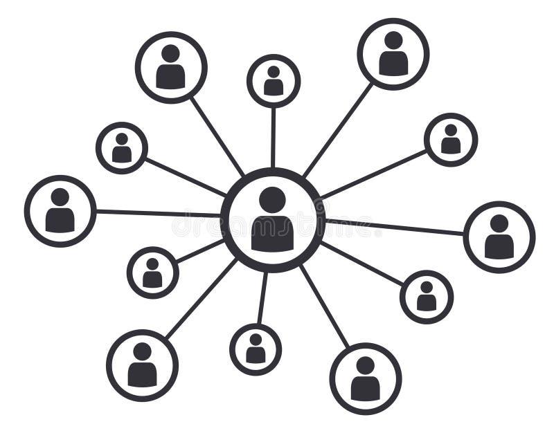 Symbole social d'illustration de vecteur de communication d'affaires de concept de médias de mise en réseau illustration libre de droits