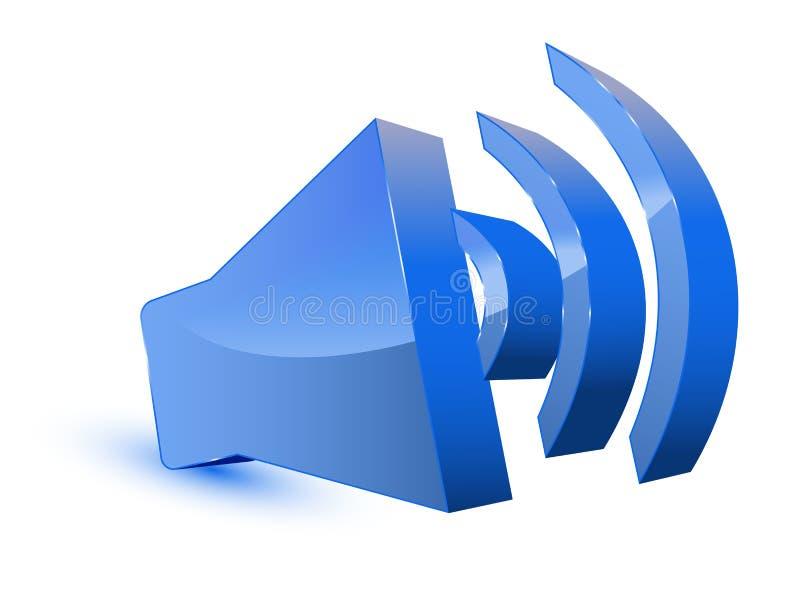 Symbole sonore bleu de haut-parleur illustration de vecteur