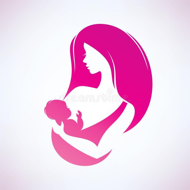 Symbole stylisé de vecteur de mère et de bébé illustration libre de droits