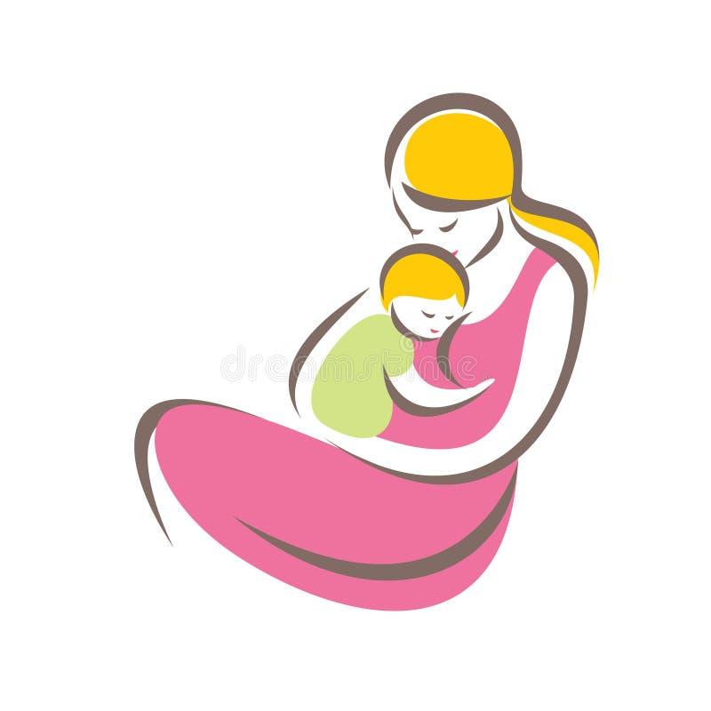 Symbole stylisé de vecteur de mère et de bébé illustration de vecteur