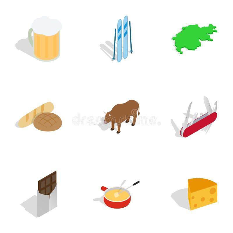 Symbole Szwajcaria ikony ustawiać ilustracji