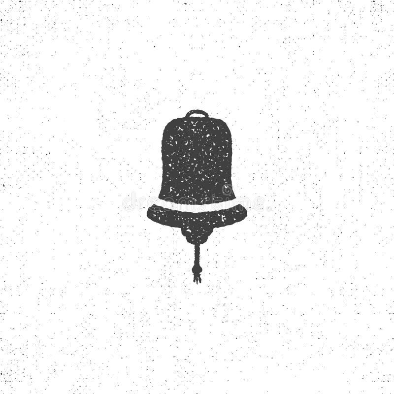 Symbole texturisé tiré par la main de cloche de bateau L'icône nautique rendent dessus le style rude Illustration de vecteur Conc illustration de vecteur