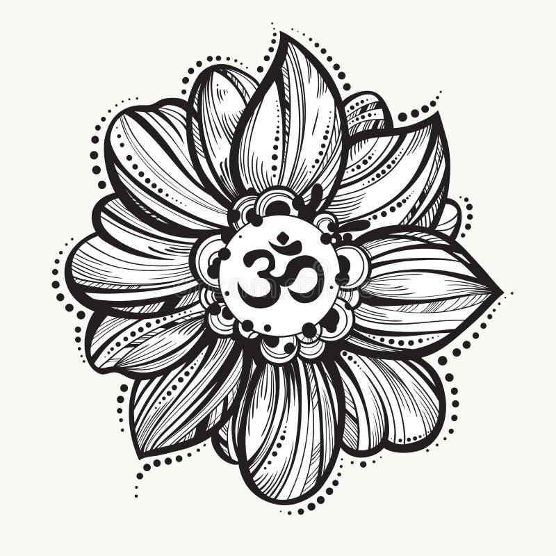Symbole tiré par la main d'ohm, signe spirituel OM de Diwali d'Indien Fleur de Lotus autour Illustration décorative haut détaillé illustration libre de droits