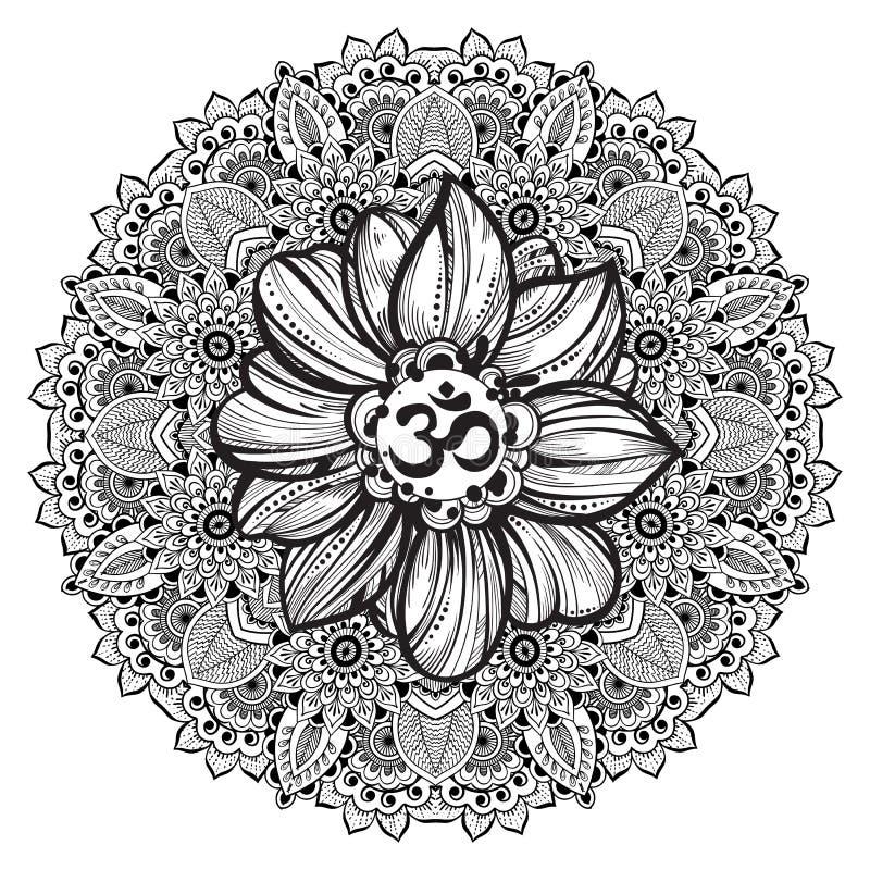 Symbole tiré par la main d'ohm, signe spirituel OM de Diwali d'Indien Fleur de Lotus et mandala fleuri autour Illustration détail illustration libre de droits