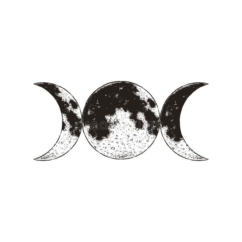 Symbole triple de déesse, trois lunes, wicca, sorcellerie, symbole magique, illustration de vecteur illustration de vecteur