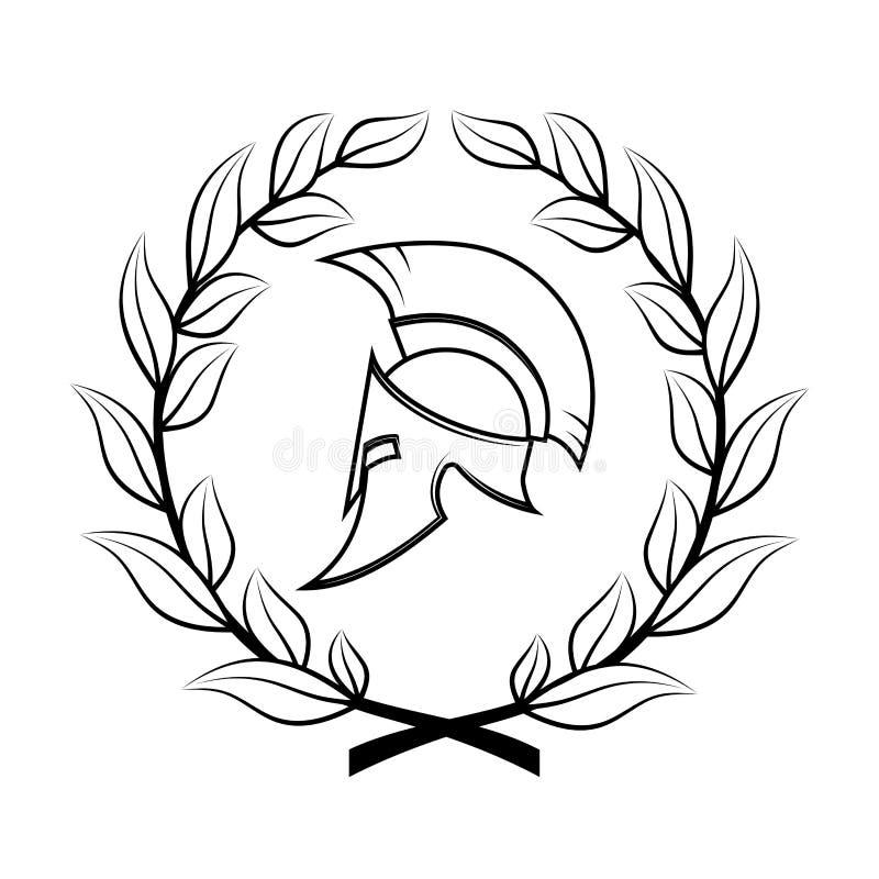 Symbole un casque spartiate dans une guirlande de laurier illustration de vecteur