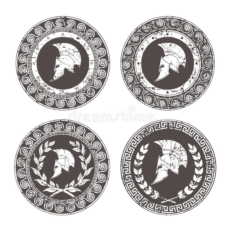 Symbole un casque spartiate, un ornement dans le style grec illustration libre de droits