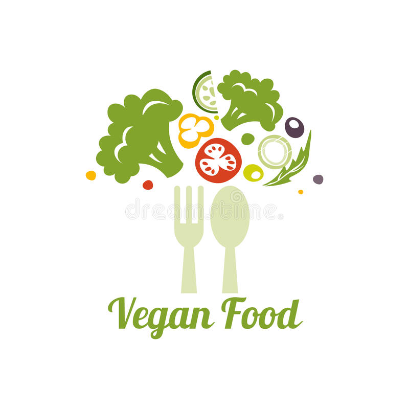 Symbole végétarien de nourriture Concept de construction créatif de logo pour la nourriture saine illustration de vecteur