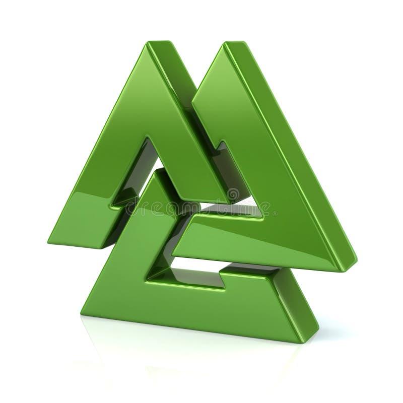 Symbole vert de Valknut illustration de vecteur