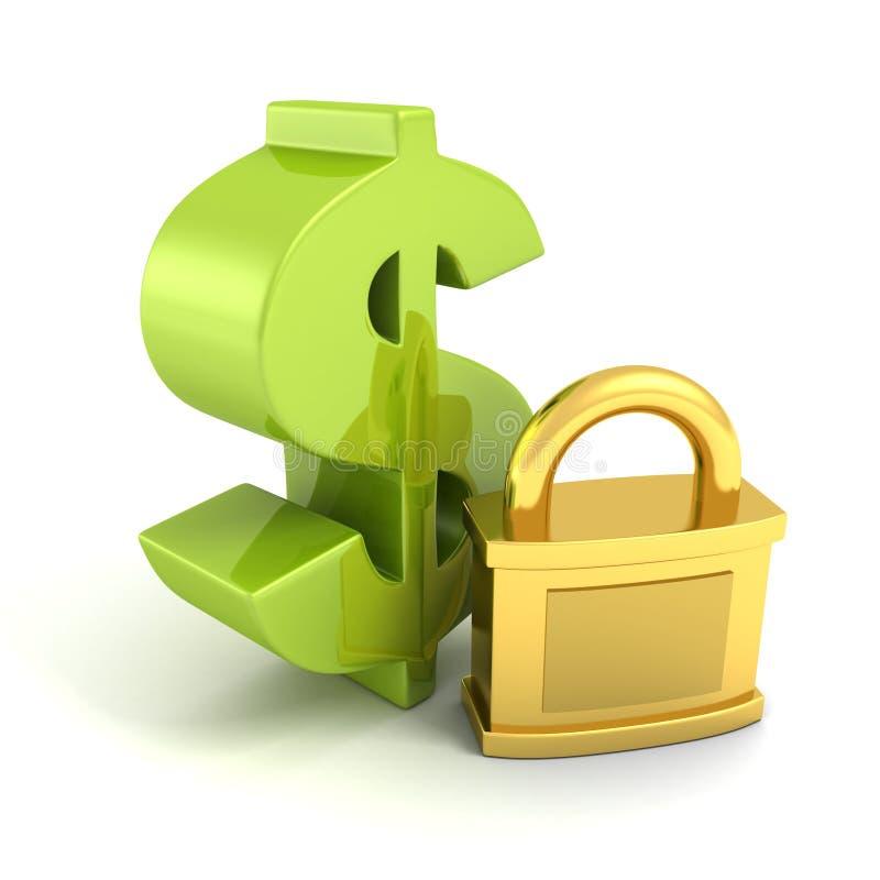 Symbole vert du dollar avec le cadenas d'or. concept de sécurité d'argent illustration de vecteur