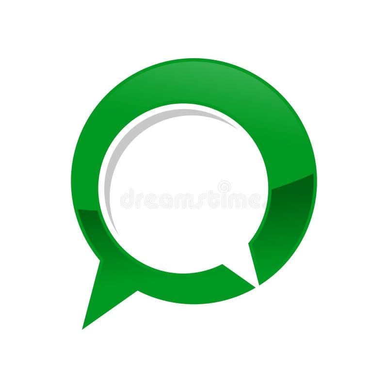 Symbole vert Logo Design de forum de causerie de bulle d'entretien illustration stock