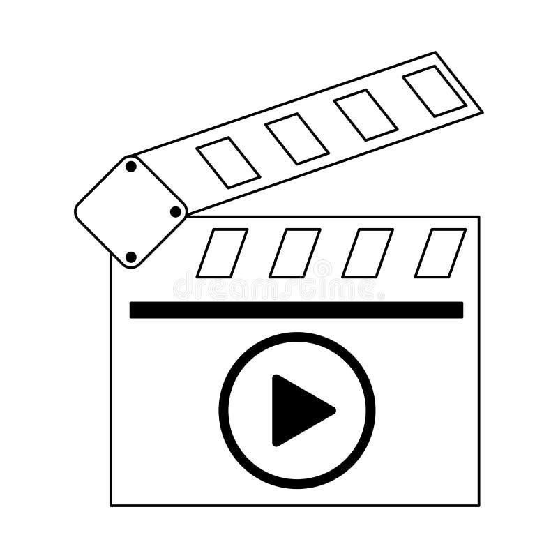 Symbole visuel de bardeau de cinéma en noir et blanc illustration stock