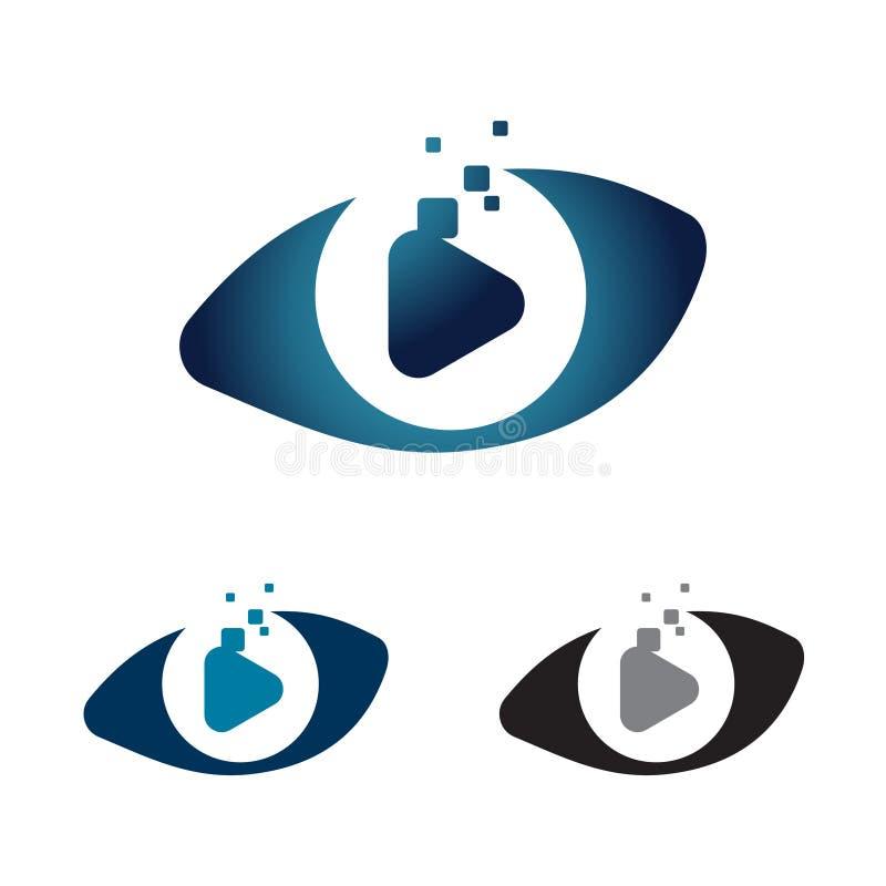 Symbole visuel Logo Illustration de données d'Internet d'oeil de pixel de Digital illustration stock