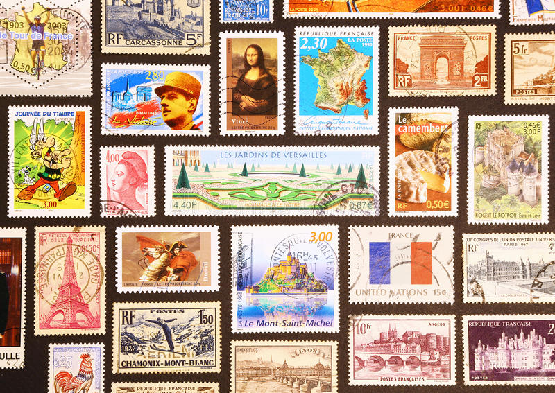 Symbole von Frankreich auf seinen Briefmarken lizenzfreie stockfotos