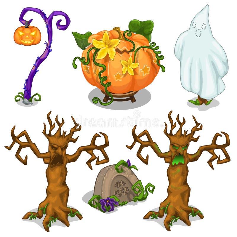 Symbole von Halloween - furchtsamer Baum, Kürbis, Geist, Grab, Laterne Sechs Ikonen eingestellt lokalisiert auf weißem Hintergrun vektor abbildung