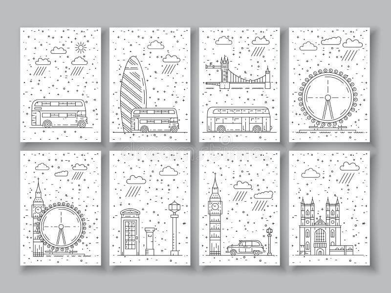 Symbole von London-Stadt in den Skylinen lizenzfreie abbildung
