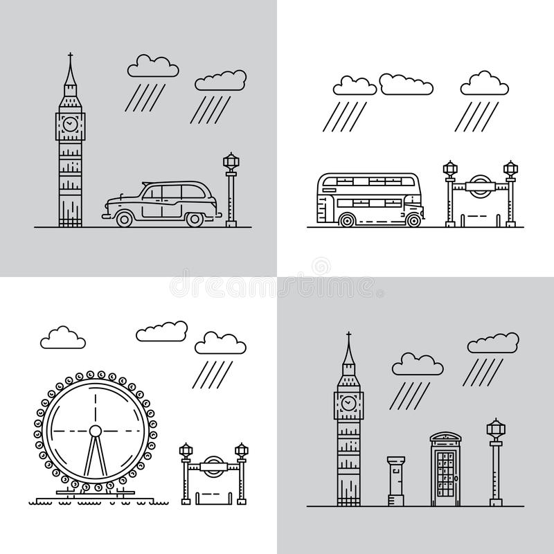 Symbole von London-Stadt in den Skylinen stock abbildung