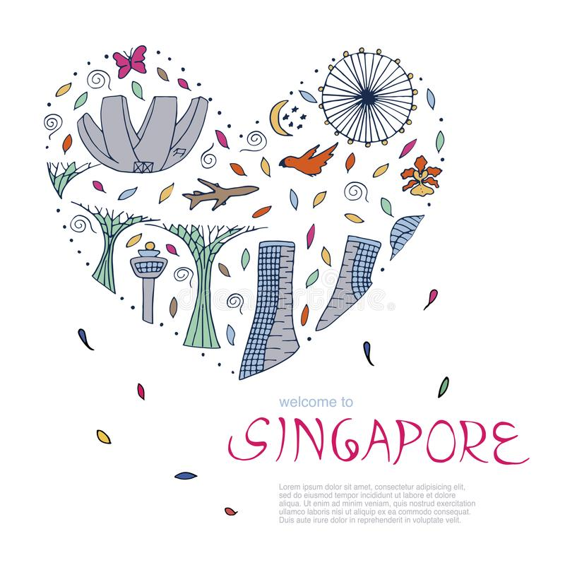 Symbole von Singapur stock abbildung