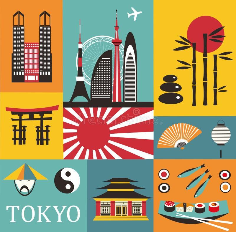 Symbole von Tokyo vektor abbildung
