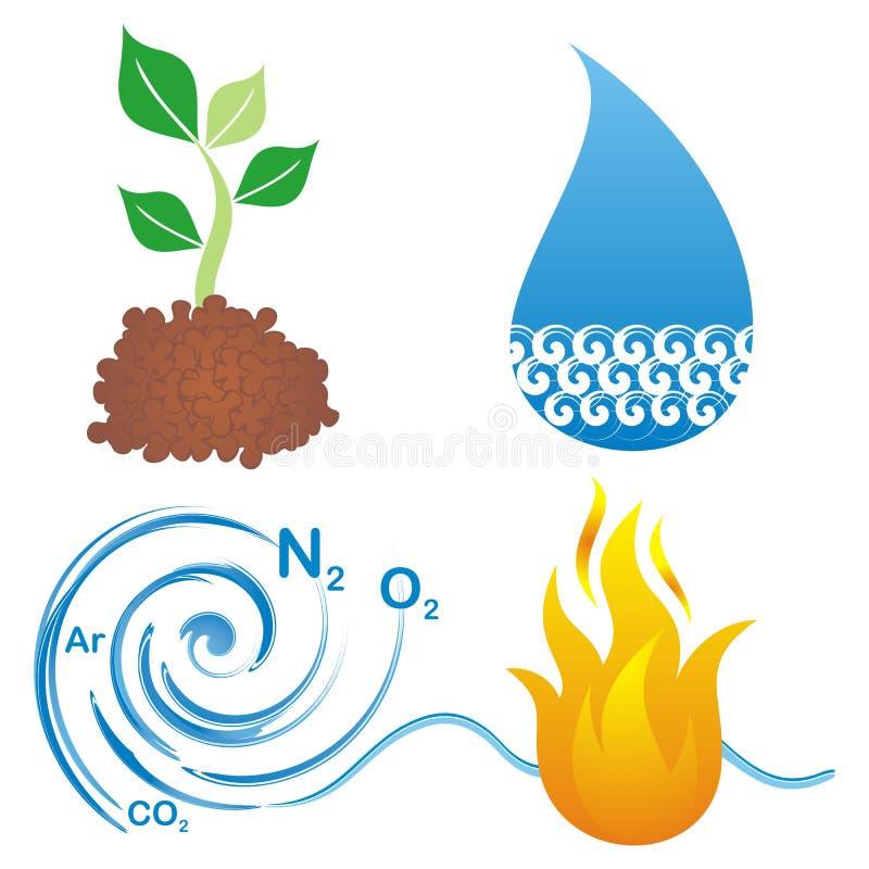 Symbole von vier Elementen lizenzfreie abbildung