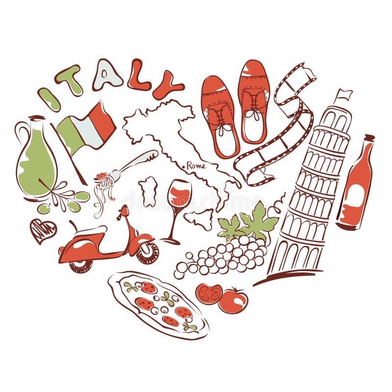 Symbole Włochy w postaci serca royalty ilustracja