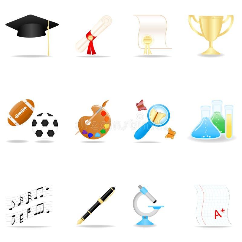 symbole zestaw edukacji ilustracja wektor