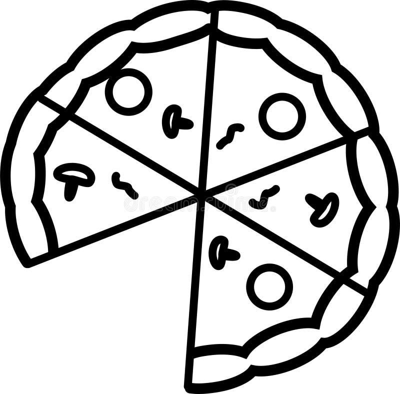 Symbolen är ett pizzasnitt in i 6 stycken, utan 1 skiva, med champinjoner, tomater och smältt ost royaltyfri illustrationer
