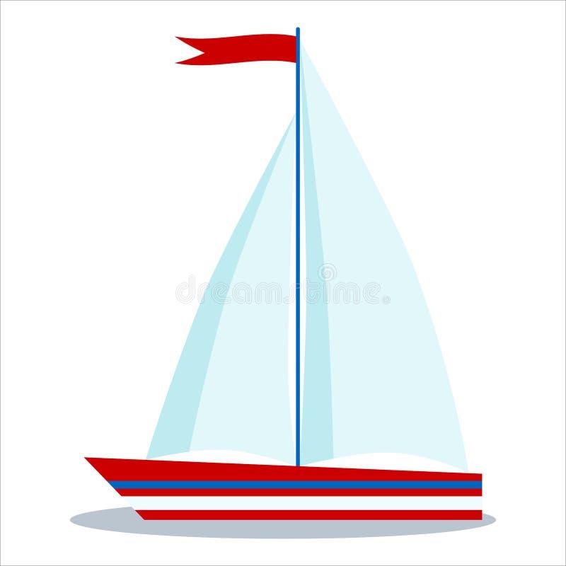 Symbolen av den blåa och röda segelbåten med två seglar isolerat på vit bakgrund royaltyfri illustrationer