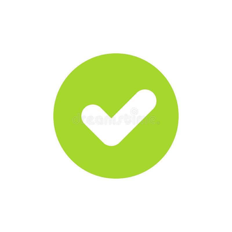 Symbolen av den gröna kontrollfläcken eller fästingen för ok eller accepterar begrepp Plan stil Perfekt PIXEL stock illustrationer