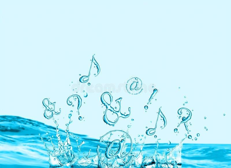 Symbolen die in water bespatten stock foto