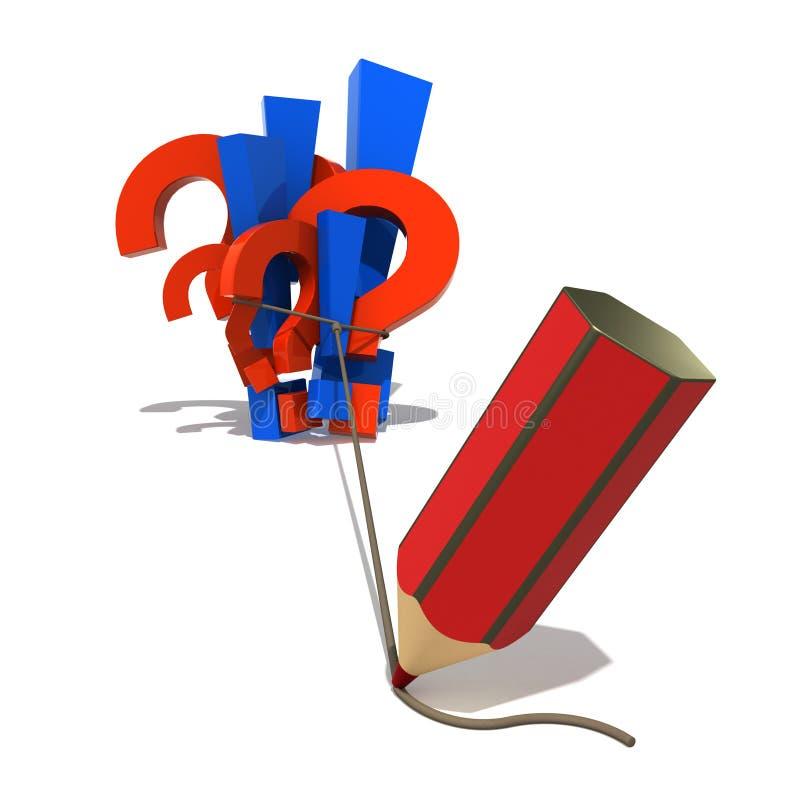 Symbolen en potlood stock illustratie
