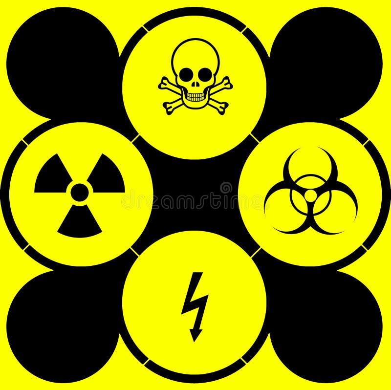 Symbolen en tekens van gevaren en bedreigingen van diverse soorten stock illustratie