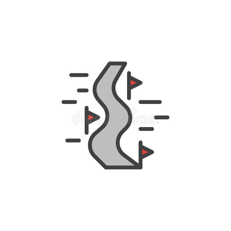 Symbolen för översikten för lutningsvintersportar skidar den fyllda stock illustrationer