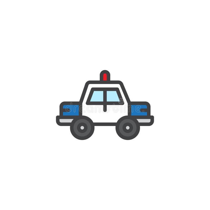 Symbolen för översikten för polisbilen fyllde den fyllda översiktssymbolen vektor illustrationer