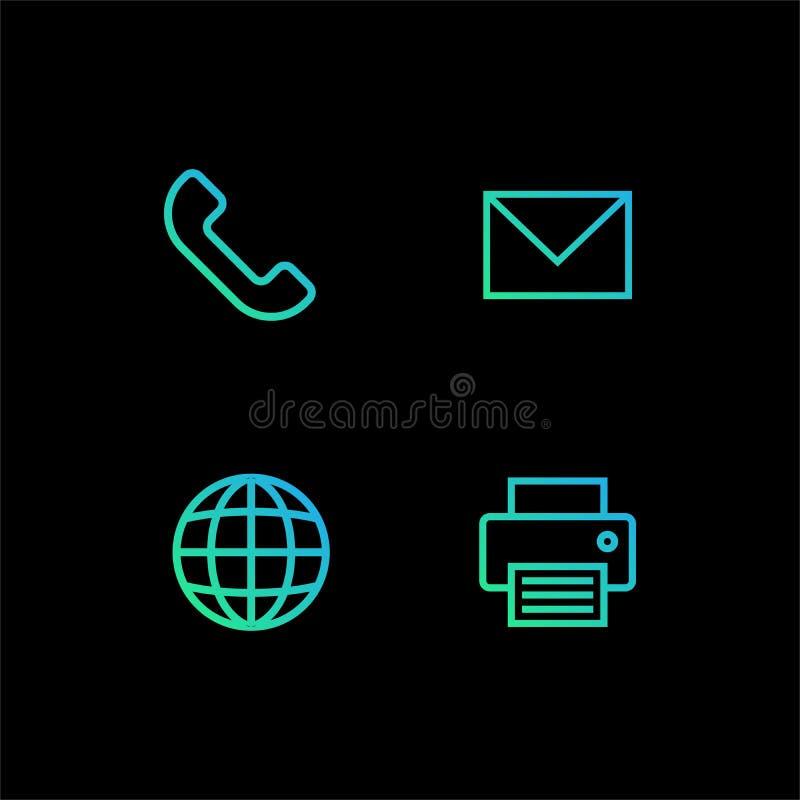 Symbolen för affärskortet ställde in i modern plan design isolerat på svart bakgrund, den enkla vektorillustrationen för webbplat royaltyfri illustrationer