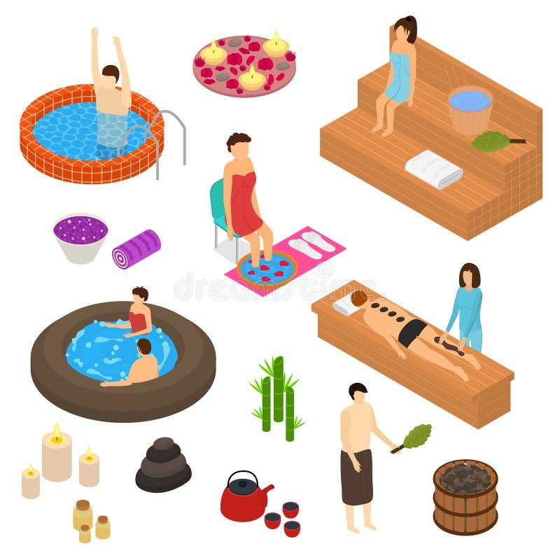 Symbolen för begreppet 3d för badhusbeståndsdelar ställde in isometrisk sikt vektor stock illustrationer