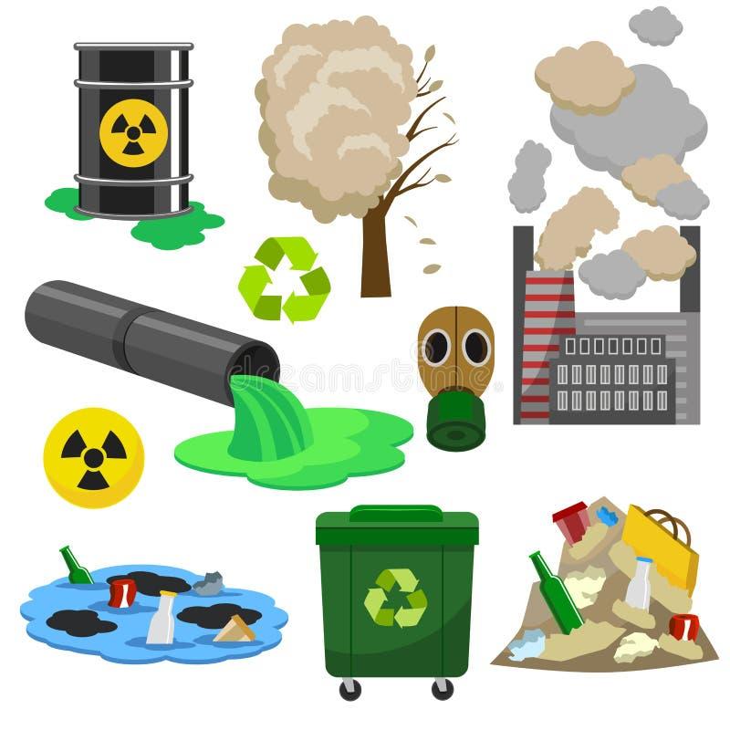 Symbolen för begreppet 3d för föroreningInfographic beståndsdelar ställde in isometrisk sikt vektor vektor illustrationer