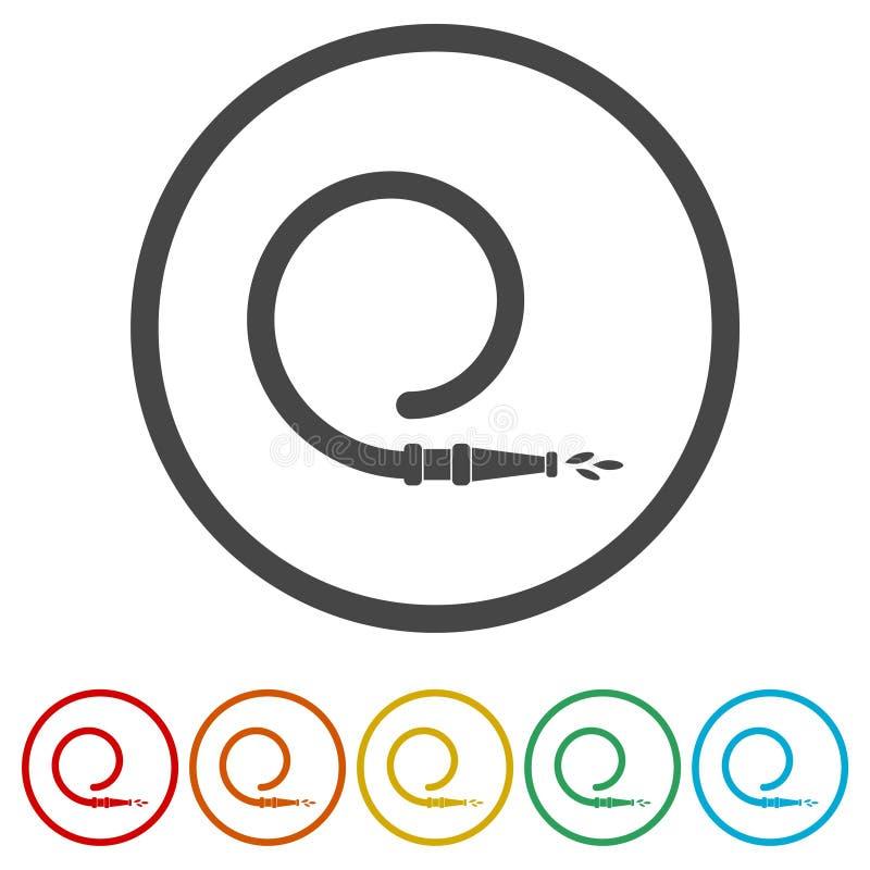 Symbolen för brandstationen, symboler för brandservice ställde in, 6 inklusive färger royaltyfri illustrationer